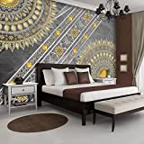 FORWALL Fototapete Tapete Mandala P4 (254cm. x 184cm.) Photo Wallpaper Mural AMF10123P4 Gratis Wandaufkleber Mandala Indien Indisch Orient Orientalisch Gold