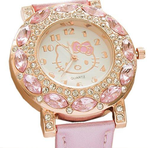 Preisvergleich Produktbild Kiss Me! Topmodel Hello Kitty Mädchen Kinder Armbanduhr Kids Analog Quarz Funkelnde Strassperlen Rosa Lederarmband Durchmesser 4cm Gehäuse 0,8cm Länge 24cm