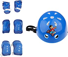 Segolike Boy's and Girl's Safety Helmet with Knee and Elbow Wrist Pad Guards Protective Sets (Blue) - 7 Pieces