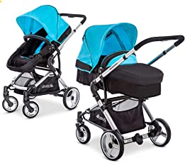 Hauck Kombi-Kinderwagen Manhattan - Kinderwagen-Set mit Babywanne und Sportwagen Aufsatz - Caviar Capri Blau