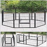 D4P Display4top Metallica Recinzione per Animali, Recinto per Cani per Cani Gatto Coniglio Indoor/Outdoor, 8 Panel, Nero (80cm X 80cm)