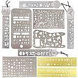 10pcs Plantillas Dibujo Reglas Metal Stencil Pintura Letras DIY Graffiti Scrapbooking (4 regla de marcadores + 6 plantillas de multifunciones)