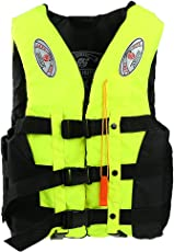 Segolike Adult Child Swimming Life Jacket Vest PFD Type Boating Fully Enclosed + Whistle - fluorescein yellow, L
