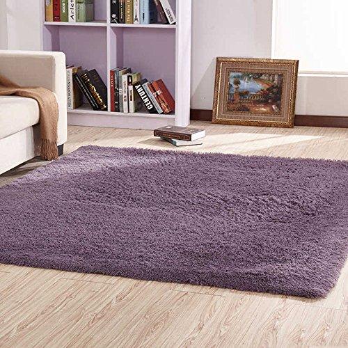TAO Super weiche Seide Wolle Teppich Indoor moderne Shag Bereich Teppich seidige Teppiche Schlafzimmer Bodenmatte Baby Kinderzimmer Teppich Kinder Teppich 63,0 * 90,6 Zoll ( Farbe : Grau lila , größe : 63.0*90.6inch ) (Shag Wolle Teppich)