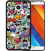 Funda Meizu MX5, WoowCase [ Meizu MX5 ] Funda Silicona Gel Flexible Grafiti de Colores Divertido, Carcasa Case TPU Silicona - Negro