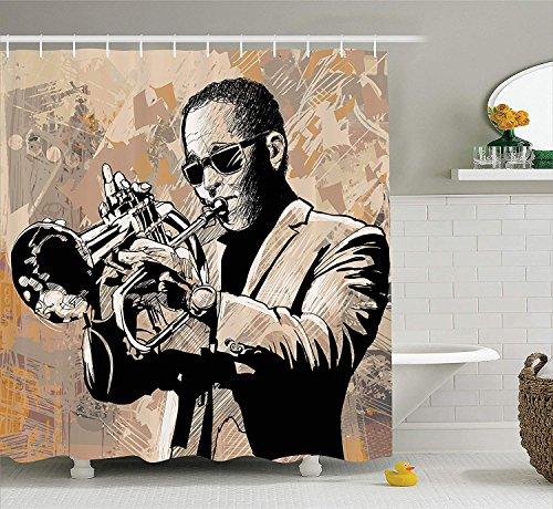 GAOFENFFR Jazz Music Decor Duschvorhang Set Grunge Style Illustration eines afrikanischen Musikers mit Sonnenbrille spielt Trompete Badezimmerzubehör Long Beige Black