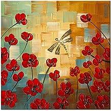 wieco Art Moderne Libellule Fleur Art Floral 100% peint à la main peintures huile sur toile, tendue et encadrée art travail uk-fl1070–1