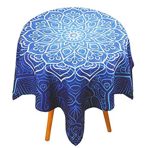 Nappe de motif de motif géométrique bleu café nappe carrée table ronde appropriée ( Size : 85*85cm )