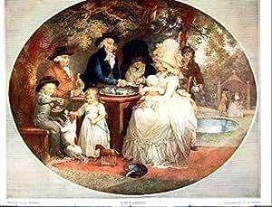 Un thé Motif jardin G Morland gravé Fd Soiron 1915 312Q142 famille