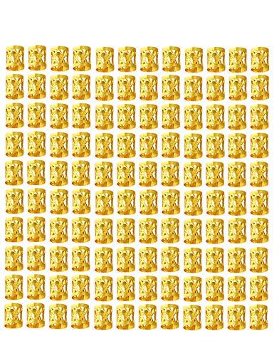 120 Stück Gold Braid Perlen 8 mm Metall Manschetten Haar Dekoration Flechten Haar Schmuck