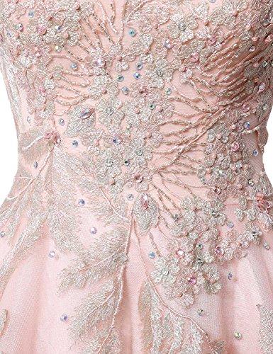 Sarahbridal Damen Organza Lang Princess Kleider Ballkleid Perspektive Ausschnitt Abendkleider mit Luxurioes Steine SLX056 Blush