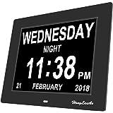 Digitaler Kalender Tag Uhr mit Nicht Abkürzungen Tag & Monat - HongLanAo® 8 Zoll Digital Kalender Wecker- Woche Zeit Alzheimer uhr ,Senioren uhr Sehr Gut Geeignet für ältere (schwarz)