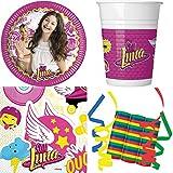 JT-Lizenzen Disney Soy Luna 39-teiliges Kindergeburtstag Party Deko Set Basis Motto Fete Feier 8 Teller, 8 Becher, 20 Servietten, 3 Rollen Luftschlangen