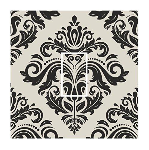 Preisvergleich Produktbild Sticar-it Ltd Schwarz & Hessisches Creme Orientalischen Stil Damast Muster Lichtschalter Sticker vinyl hülle schutzhülle Aufkleber für Jeden Raum