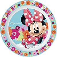 Unbranded 8020131 Assiette Plate Minnie Flower Micro Ondable Diametre 22CM-8020131, Plastique, Rose, 22 cm