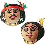 Paramsparsh Paper Clay Home Decor Wall Hanging Tribal Couple Chou Mask - Adibasi Decorative Showpiece & Gift Item(12.5 cm.)