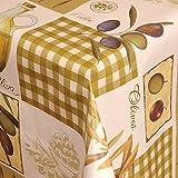 Wachstuch Tischdecke Gartentischdecke mit Fleecerücken Gartentischdecke, Pflegeleicht Schmutzabweisend Abwaschbar Oliven Grün 160x 140 cm - Größe wählbar