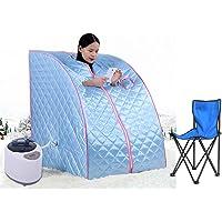 Flyelf Portable Sauna Thérapeutique Vapeur Spa Chaise Maison Relax 98 x 70 x 80 cm 1.8L (Bleu)