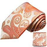 Paul Malone Seidenkrawatten Set 2tlg schmale 6cm Krawatte koralle paisley + Einstecktuch (Normallange 150cm)