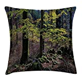 MLNHY Forest Throw Pillow Cushion Cover, Natural Scenery Trees Autumn Season in Woods Wilderness Rural Growth Eco Photo, Decorative Square Accent Pillow Case, 18 X 18 inches, Green Light Pink