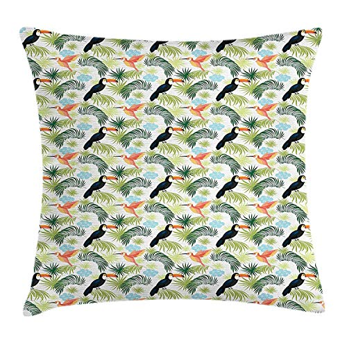 w Cushion Cover and Toucan Parrot in a Tropical Palm Forest Cartoon Style Arrangement, Decorative Square Accent Pillow Case, 18 X 18 Inches/45cm x 45cm ()
