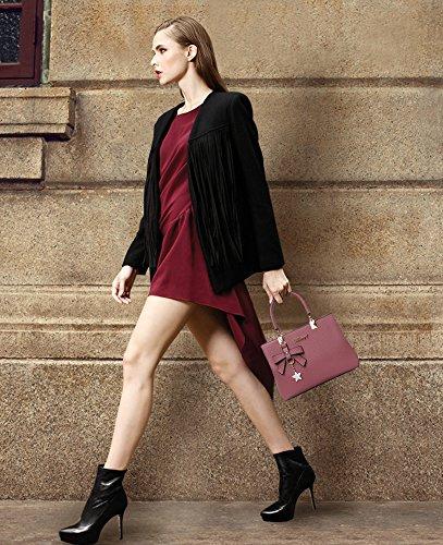 URAQT Borsa a mano Donna, Borse a Spalla Donna in PU Pelle, Borse Tote Donna per Shopping, Partito, Casual & Work - Rosa