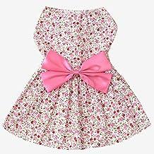Estilo de la flor dulce perro de mascotas falda vestido de ropa traje de vestir con