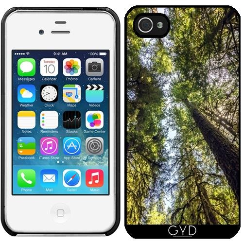 Leder Flip Case Tasche Hülle für Apple iPhone 5/5S - Waldbäume by J McCool Starre Kunststoff