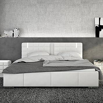 Designer bett 140x200  Polster-Bett inkl. Lattenrost aus Kunstleder weiß mit LED und ...
