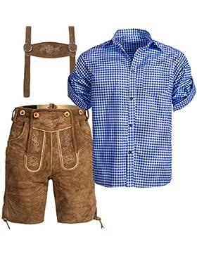 Herren Set Trachten Lederhose hellbaun Kurz mit Trägern + Trachtenhemd in Verschiedenen Farben