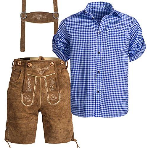 Herren Set Trachten Lederhose hellbaun Kurz mit Trägern + Trachtenhemd Blau Weiß Kariert 48-S