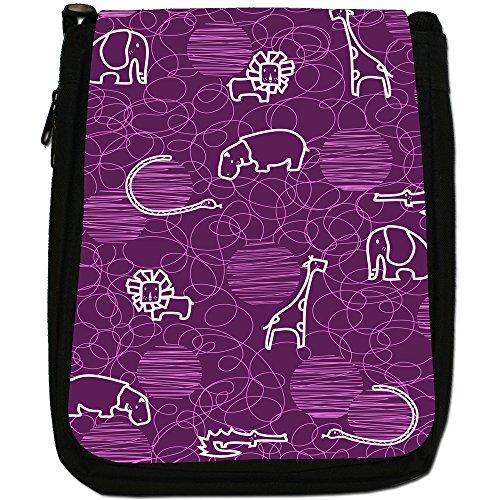 Giraffa, Leone, Elefante e Ippopotamo disegno Medio Nero Borsa In Tela, taglia M Purple