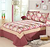 Bedspread Couvre-Lit Quilted Set Couette Matelassé Ensemble Couvre Lit Coton Matelassé, 1 Quilt (230×250cm) 2 Taie d'Oreiller (50×70cm)