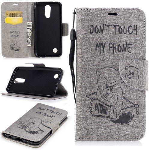 jbTec® Flip Case Handy-Hülle zu LG K10 2017 - BOOK MUSTER Teddy mit Kettensäge I10 - Handy-Tasche, Schutz-Hülle, Cover, Handyhülle, Ständer, Bookstyle, Booklet, Farbe:Grau