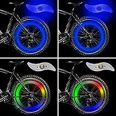 Whaggie LED Fahrrad Felge Lichter, Rad LED Speichenlicht Nachtlicht mit 3 Leuchtmodi Benutzt für Sicherheit (2 Stück Multicolor und 2 Stück Blau)