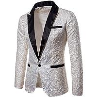 Greetuny Men Floral Party Wedding Club Business Suit Jacquard Splice Suit Jacket