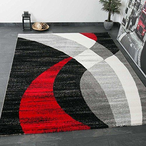 Vimoda tappeto dal design moderno, strisce curve di colore rosso grigio nero, a pelo corto, dimensioni: 120x 170cm