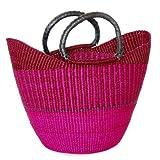 Damen Shopper/Einkaufstasche / Ghana-Korb - Steppengras - Fair Trade (Fuchsia)