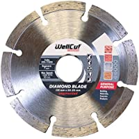 Wellcut Segmented Diamond Cutting Disc Blade, Ultra Thin & High Precision Used in Concrete, Stone, Brick, Lintels, Granite, Natural Stone Fast and Smooth Cutting Diamond Blade (115 X 22.23 Mm)