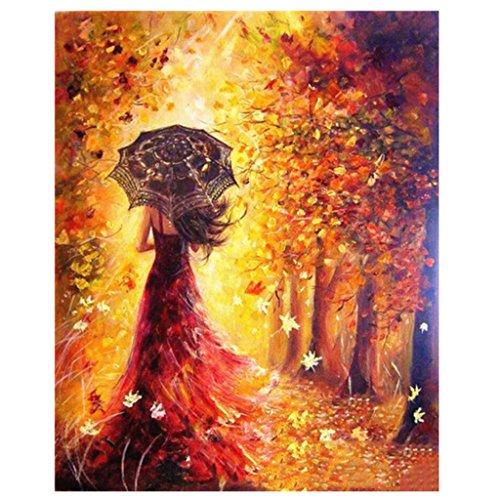 Gazechimp Moderne Diy Kunstdruck Wandbild ( sich die Farben füllen ), Malen nach Zahlen Wohnkultur - Mädchen und Herbst