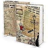 Cooles PARIS vintage XXL Notizbuch Tagebuch DIN A4 nostalgisch französisch 148 Seiten leer weiß - retro Blankobuch Einschreibbuch - Buch blanko selbstgestalten HARDCOVER !!!