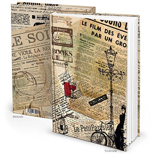Cooles PARIS vintage XXL Notizbuch DIN A4 nostalgisch französisch mit 148 Seiten leeren weißen...