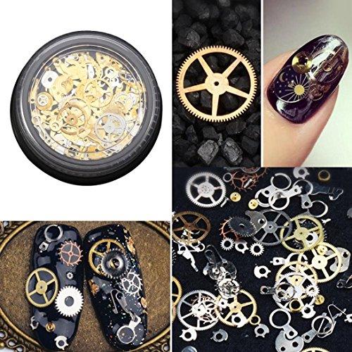 1 boîte de décorations pour ongles Steampunk style engrenages métalliques IGEMY