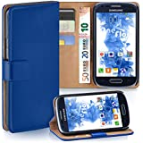 Samsung Galaxy S3 Mini Hülle Blau mit Karten-Fach [OneFlow 360° Book Klapp-Hülle] Handytasche Kunst-Leder Handyhülle für Samsung Galaxy S3 Mini S III Case Flip Cover Schutzhülle Tasche