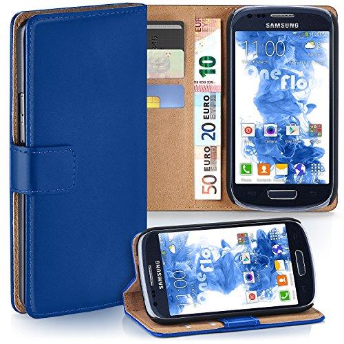 moex Samsung Galaxy S3 Mini | Hülle Blau mit Karten-Fach 360° Book Klapp-Hülle Handytasche Kunst-Leder Handyhülle für Samsung Galaxy S3 Mini S III Case Flip Cover Schutzhülle Tasche