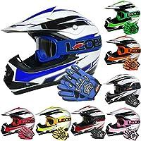 Leopard LEO-X16 Kids Motocross HELMET & GLOVES & GOGGLES (Blue M) Children Quad Bike ATV Go Karting Helmet