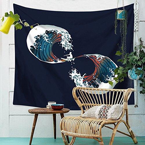 Tapisserie - tappeto da parete con onde giapponesi, motivo: oceano e mandala, decorazione per camera da letto, soggiorno, camera da letto 150x130cm 1