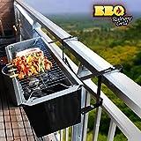 Appetitissime BBQ Quick Barbecue à charbon pour balcon, acier inoxydable, noir, 57cm