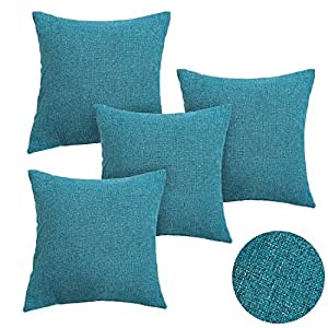 deconovo 4er pack kissenh lle leinenoptik kissenbezug blau kissenbez ge 40x40 cm. Black Bedroom Furniture Sets. Home Design Ideas
