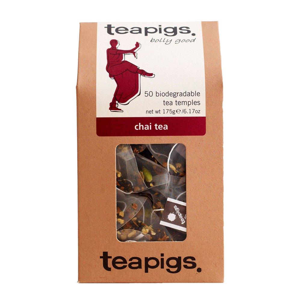Teapigs chai tea (black tea) (assam) (50 bags) (a spicy, sweet tea with aromas of cardamom, cinnamon, ginger, vanilla) (brews in 3 minutes)